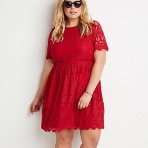 Forever 21+ Plus size red lace holiday dress 2X